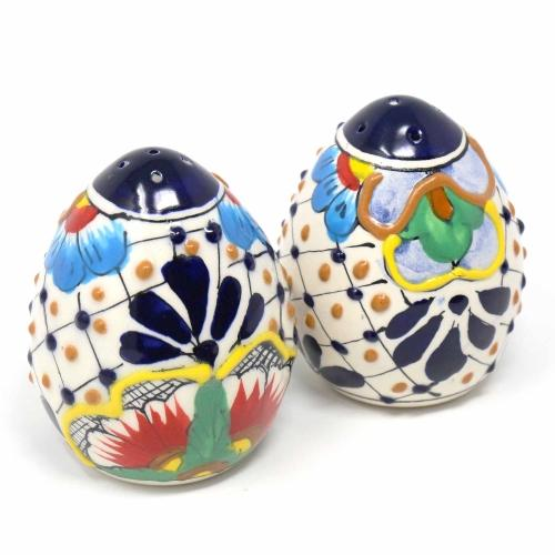 Hand-Painted Salt Shakers, Dots and Flowers | Fair-Trade, Two in Set