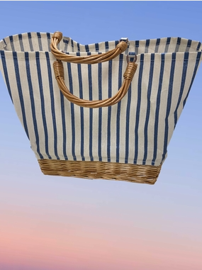 Bay Head Canvas Striped Bag with Straw Handles & base