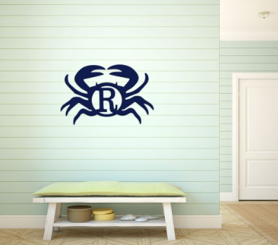 Crab Design Wood Monogram
