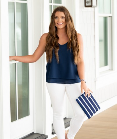 Hayley Purse Navy Stripe