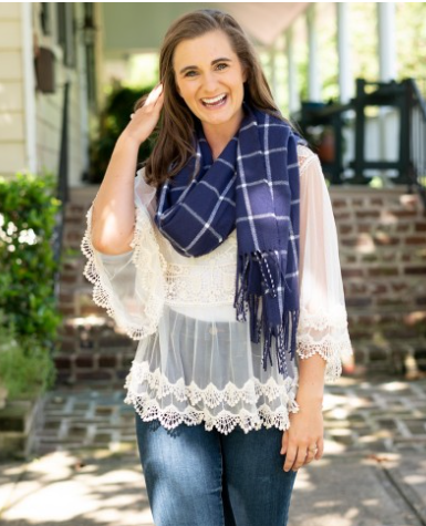 Navy & White Plaid Scarf