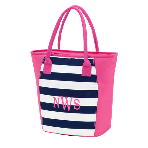 Preppy Navy and White Stripe Cooler Tote