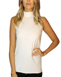 Ladies mock neck classic tank top in white