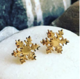 Earrings -Snowflake -Gold Stainless Steel - Hypoallergenic