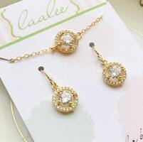 Gold Crystal Set - Earrings and Necklace