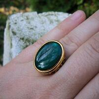 Green Resin Gem Brass Ring (adjustable)