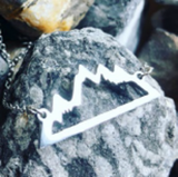 Necklace -Mountains -Silver Stainless Steel