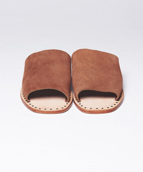 Suede Slide-On Sandals - Brown