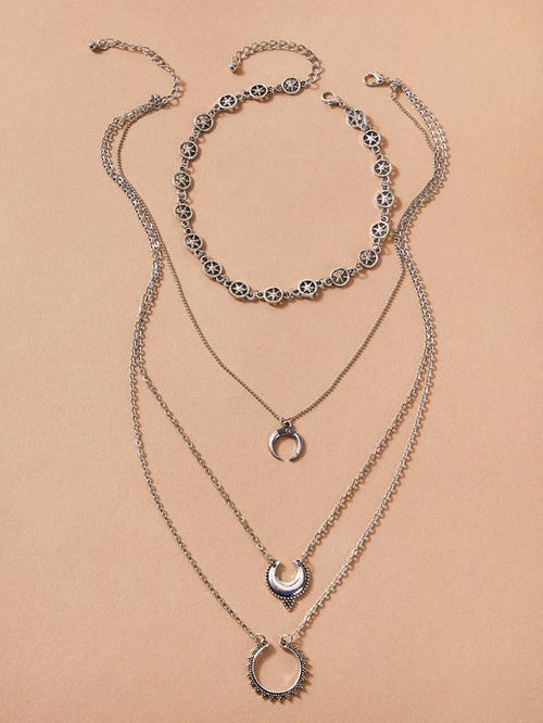 Necklace - Layered Moons - 1pc