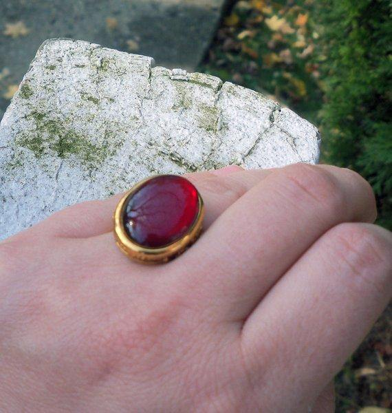 Red Resin & Brass Ring