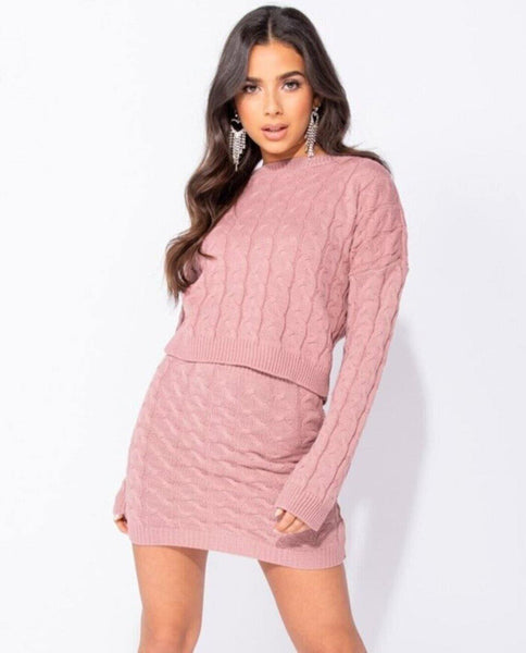 Women's cable-knit skirt - pink