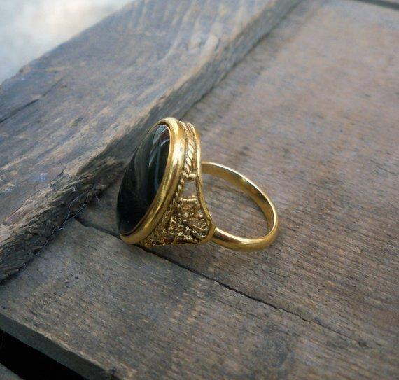 Green Resin & Brass Ring - House of Angelica
