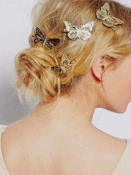 Butterfly Hair Clips - Gold