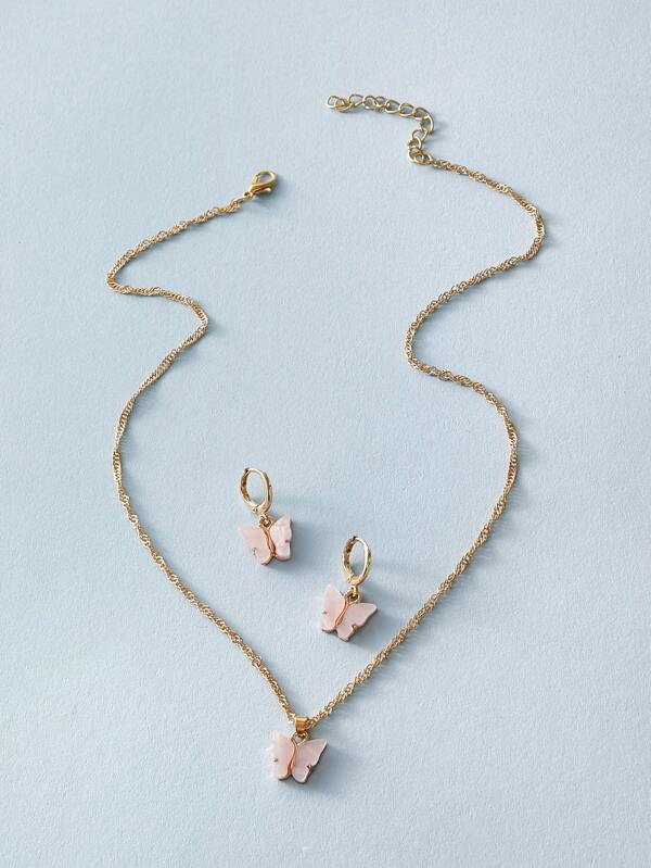 Butterfly Necklace and Earrings - Pink/Gold