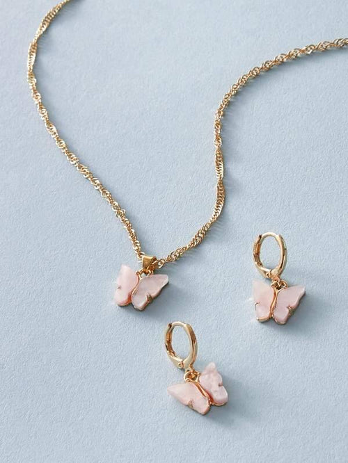 Butterfly Necklace - Pink/Gold