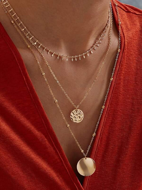 Coin Charm Layered Necklace - Gold
