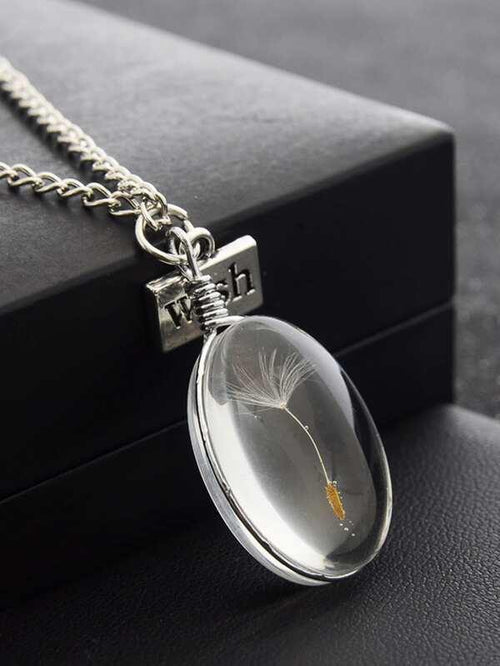 Dandelion Oval Pendant Necklace