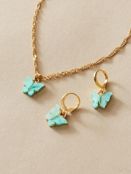 Butterfly Necklace - Blue / Gold