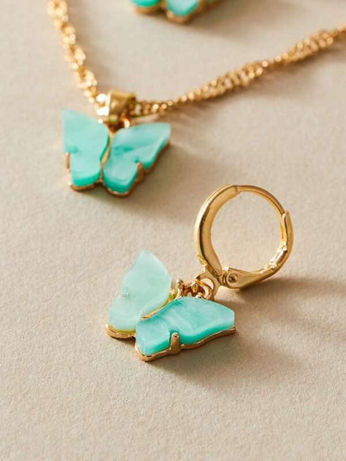 Butterfly Earrings - Blue/Gold