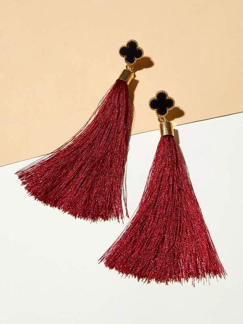 Clover & Tassel Drop Earrings