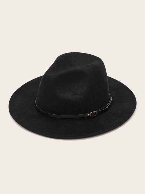 Wide Brim Hat w Belted Detail - Black - House of Angelica