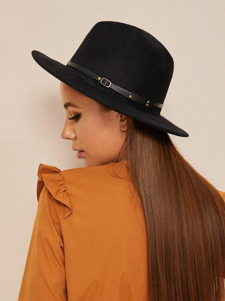 Wide Brimmed Black felted hat with belt detail