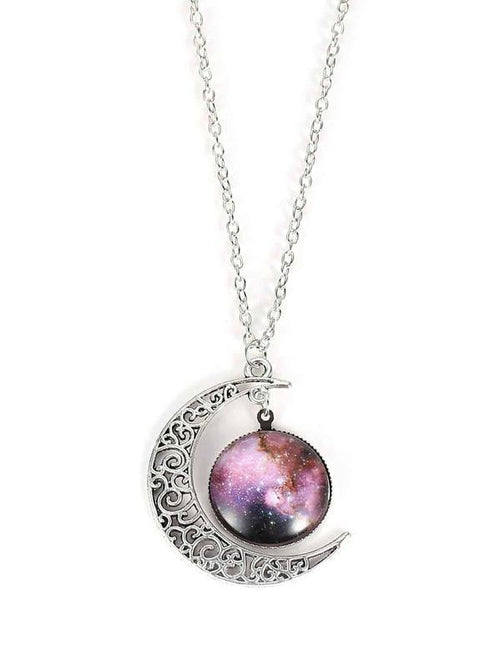 Star Sky and Moon Pendant Necklace