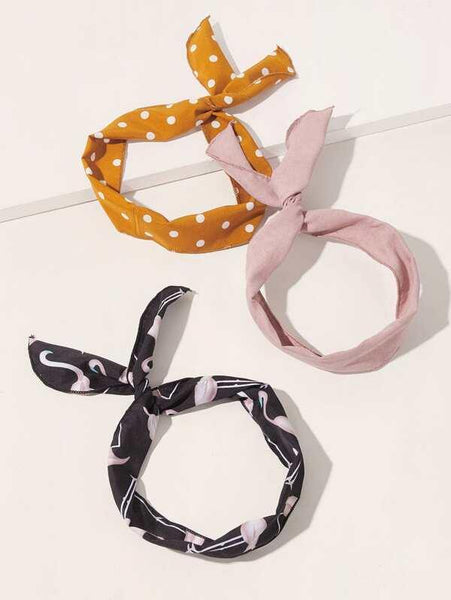 Headband Scarves - Yellow Dot, Pink, Black Flamingo