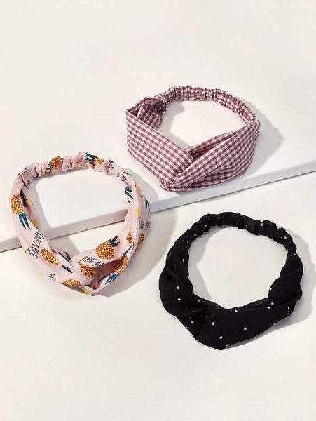 Headband - Pink Pineapple, Black Polkadot, Red N'White Gingham