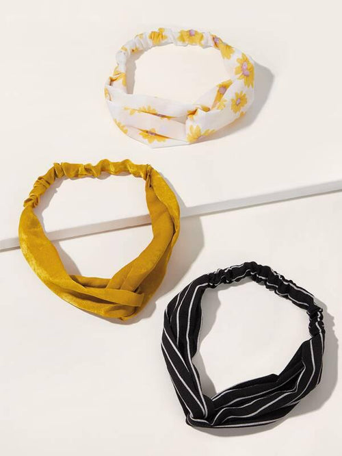 Headband - Mustard, Black Stripe, White/Yellow Floral - House of Angelica