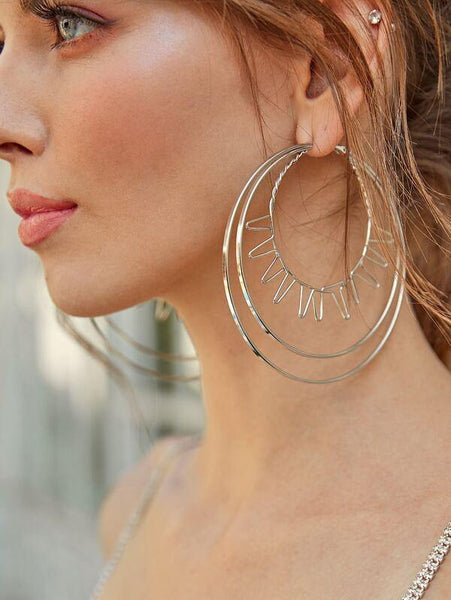 Earrings - Large Layered Hoop - Silver - House of Angelica