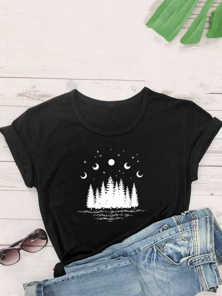 Graphic T-Shirt with the moon phases over mountains on the front in white.  Available in Black, 100% cotton, women's sizes