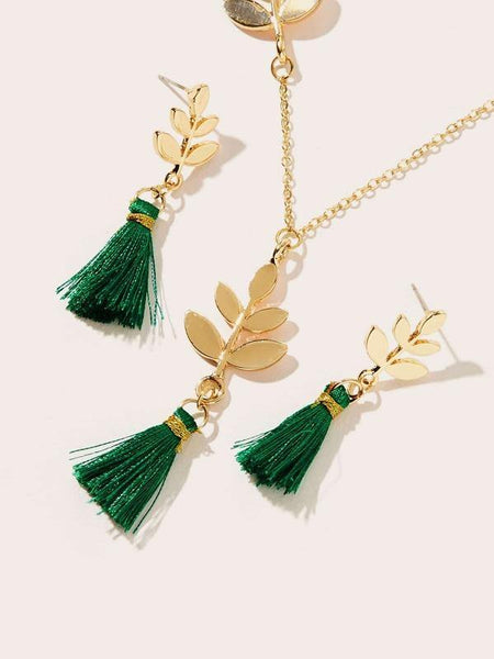 Earrings - Gold Leaf Detail w Green Tassel - House of Angelica