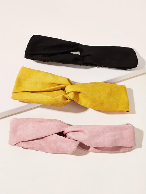 Headbands -Sueded - Pink, Black, Yellow