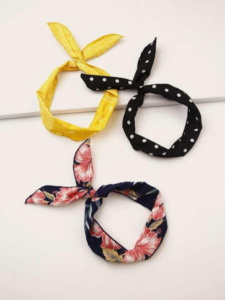Headband Scarves - Yellow Pattern, Floral, Black w Polkadots