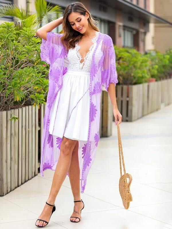 Lace Kimono with Tie Closure in Violet/Purple at House of Angelica