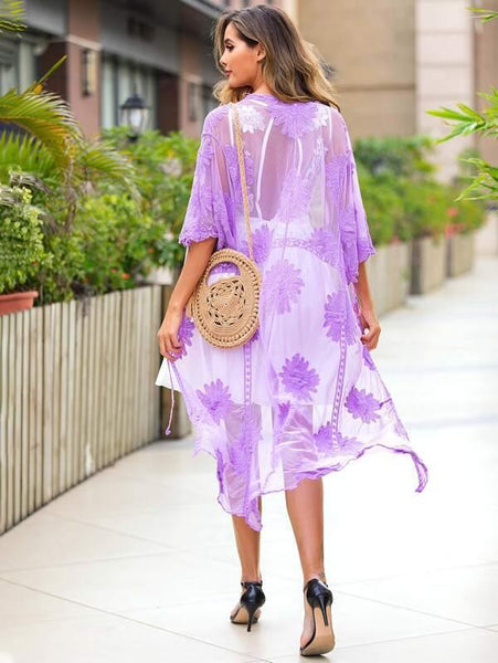 Embroidered Mesh Kimono - Violet - House of Angelica