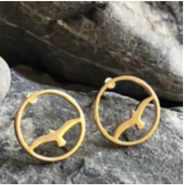 Earring - Bird in Circle - Gold