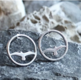 Earring - Bird in Circle - Silver