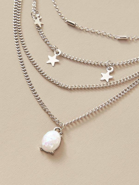 Star Charm Layered Necklace - Silver