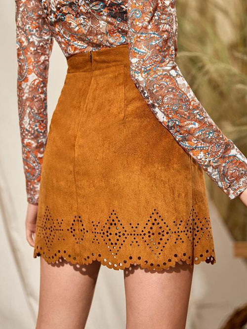 Faux Suede Skirt - Rust Brown - House of Angelica