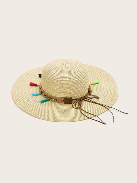 Wide Brim Sun Hat - Tassel Detail - House of Angelica