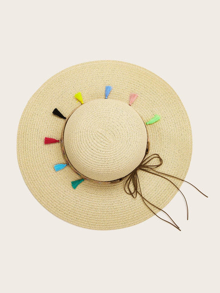 Wide Brim Sun Hat - Tassel Detail