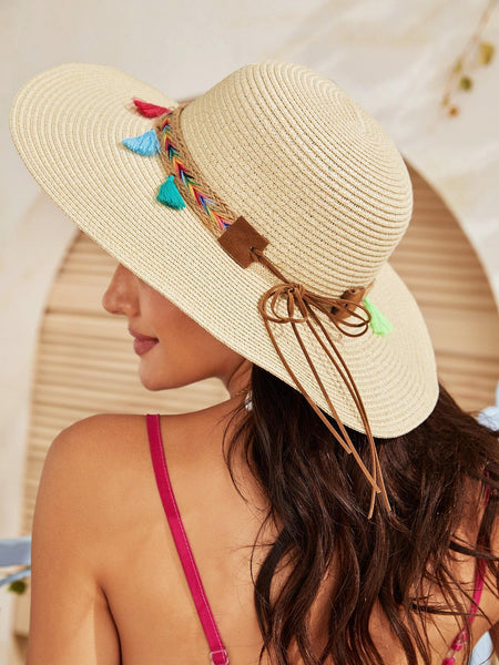 Wide Brimmed Hat with tassel belt detail.  100% Paper