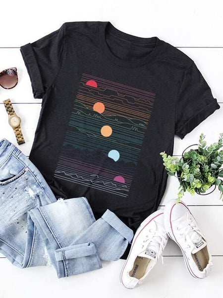 Moon Phases Graphic Tee - Black
