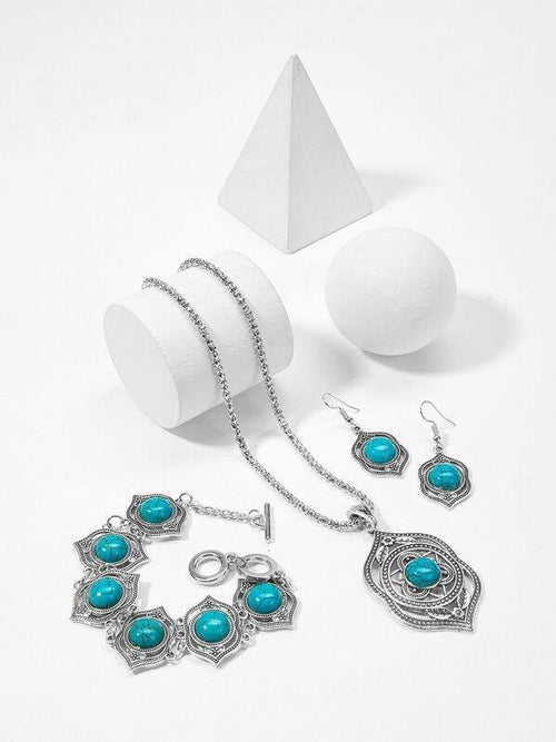 Turquoise Jewellery: bracelet, necklace, earrings.  Sold separately.