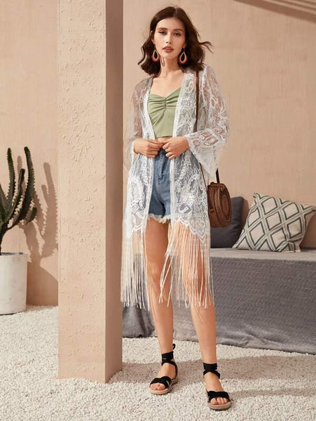 Lace Kimono with Fringe Hem in White