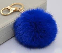 Rabbit fur pom pom key chain and purse accessory