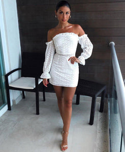White lace, off shoulder,  mini dress