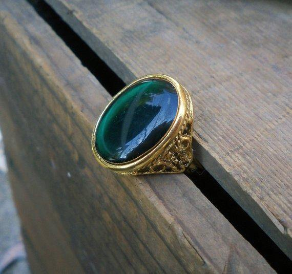 Green Resin & Brass Ring
